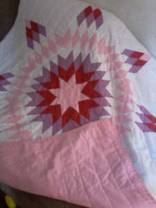 Pink and purple and white Toddler Size Star Blanket