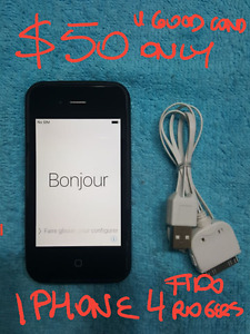 firm$50 IPhone4 Fido/Rogers mint cond.with cable