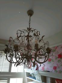 Laura ashley chandelier 8 light ,cream