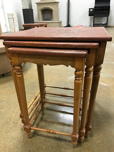 Set of 3 Leather Nesting Tables from Peru