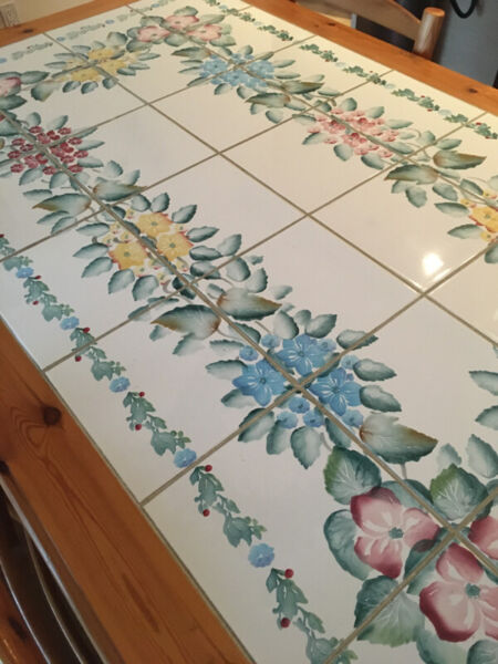 Dining table - italian, tile-topped