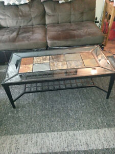 GLASS & CERAMIC TILE COFFEE TABLE