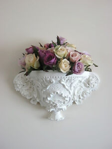 Shabby chic ornate wall pocket with roses motif