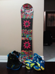 Burton Youth Snowboard, Bindings and Boots