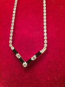 Rhinestone necklace and post earring set