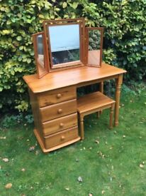 Pine dressing table mirror and stool