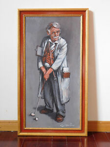 "Barry Leighton-Jones Original Oil Painting ""Golfing Doctor"""