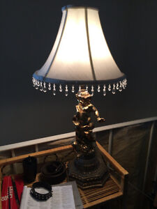 Two cherub table lamps