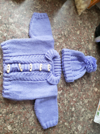 0-3 months purple baby girls hat and cardigan set new