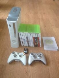 XBOX360 With 2 controllers, games and battery pack