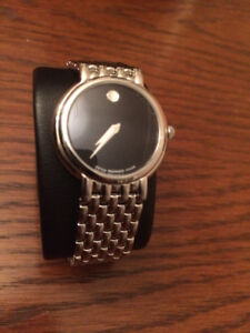 Ladies Movado Black Dial Stainless Steel Watch