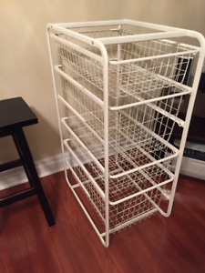 IKEA Algot system frame with wire baskets (bedroom storage)