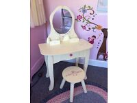 Girls cream dressing table desk and stool + draw