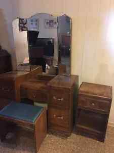Vintage Vanity set with matching Side Table & Stool