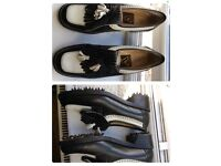 Golf Shoes VERBANO BLACK & WHITE LEATHER non-slippery 7UK
