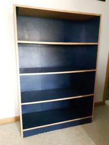 """Bookcase/Shelves: 4 feet high, 33"""" wide, 11 1/2"""" deep, 4 shelves"""