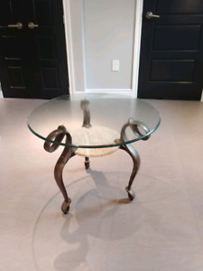 Glass marble end coffee table