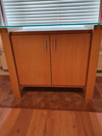 Solid Oak Sideboard (Glass topped)