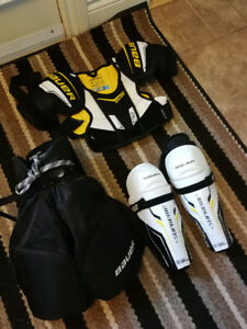 Bauer youth hockey equipment.