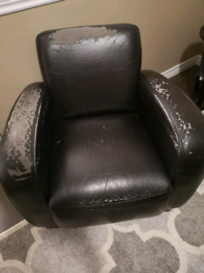 FREE: 2 bonded leather chairs and 1 storage ottoman