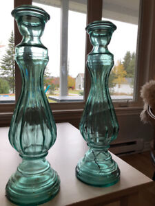 """Gorgeous Matching 22"""" Glass Vases"""