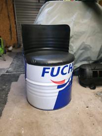Oil drum seat for mancave garage