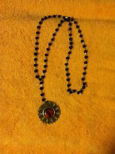 Red Flower Black Beaded Necklace - BRAND NEW!