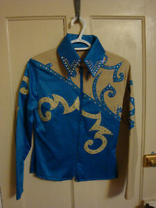 Custom-Made Teal/Tan Western Show Shirt, Never Worn Peterborough Peterborough Area image 1