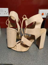 Size 7 Nude Suedette Lace-up Cut-out Block Heels