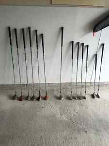 Assorted right hand golf clubs
