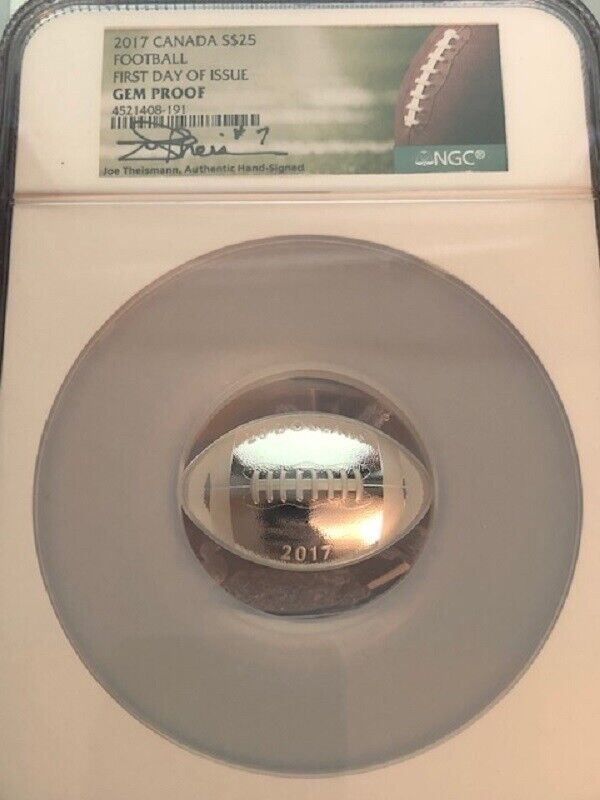 AVC- 2017 CANADA $25 SILVER 1 OUNCE FOOTBALL JOE THEISMANN SIGNED NGC GEM PROOF