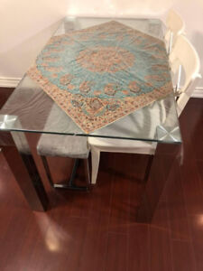 Glass Dining Table and 2 white ikea chairs