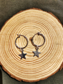 Dainty Silver Star Charm Hoop Earrings