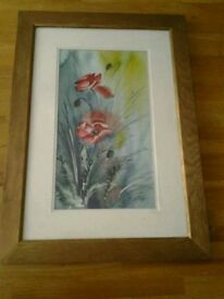 Original framed watercolour poppy picture