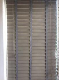 Smoke Whisper & Grey Faux Wood Blind - 50mm Slat 29 1/2in width x 49in drop (recess)