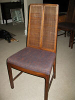 4 Vintage Mid Century Oak or Walnut High Cane Back Dining Chairs