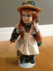 """Porcelain Doll - 12"""" Anne of Green Gables with stand"""
