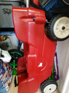 Red wagon with removable hardtop canopy