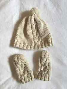Indigo Cable Knit Creme Toque & Mitts 0-3 months