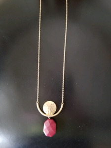 New Necklace Gold Plated with Gold Disk Pendant and Burgundy Sto