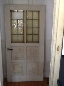 ENGLISH ANTIQUE SOLID WOOD LEADED STAINED GLASS DOOR