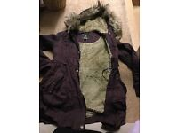 Used Lipsy Purple Parka size 8