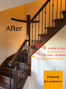 Luxury baseboard, moldings & iron railing Stair