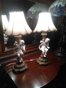 2 Antique Cherub Lamps