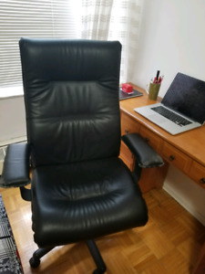 Chair and Table - Comfy leather office chair and work table