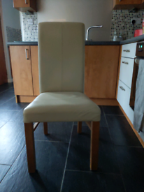 6 Beige leather dining table chairs