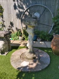 Garden cherub bird bath