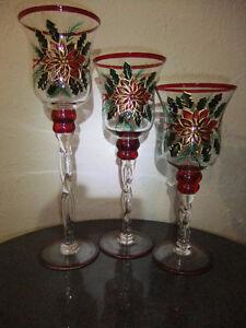3 Bougeoirs verre peint à la main (Noël)