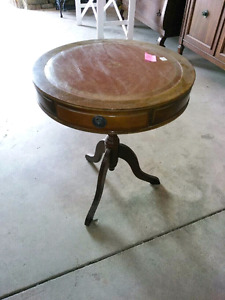 Antique drum side table leather top great condition