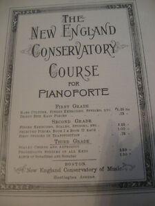 EARLY 1900's NEW ENGLAND CONSERVATORY COURSE for PIANOFORTE